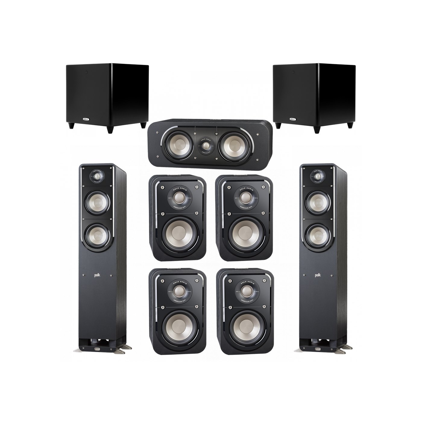 Polk Audio Signature 7.2 System with 2 S50 Tower Speaker, 1 Polk S30 Center Speaker, 4 Polk S10 Bookshelf Speaker, 2 Polk DSW PRO 550 wi Subwoofer