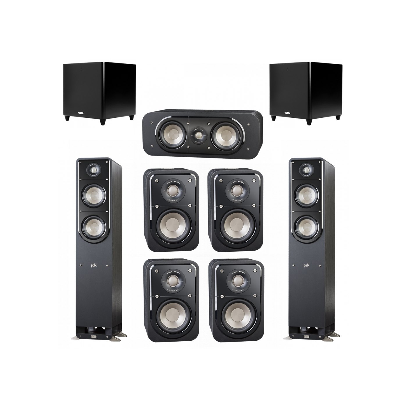 Polk Audio Signature 7.2 System with 2 S50 Tower Speaker, 1 Polk S30 Center Speaker, 4 Polk S10 Bookshelf Speaker, 2 Polk DSW PRO 660 wi Subwoofer