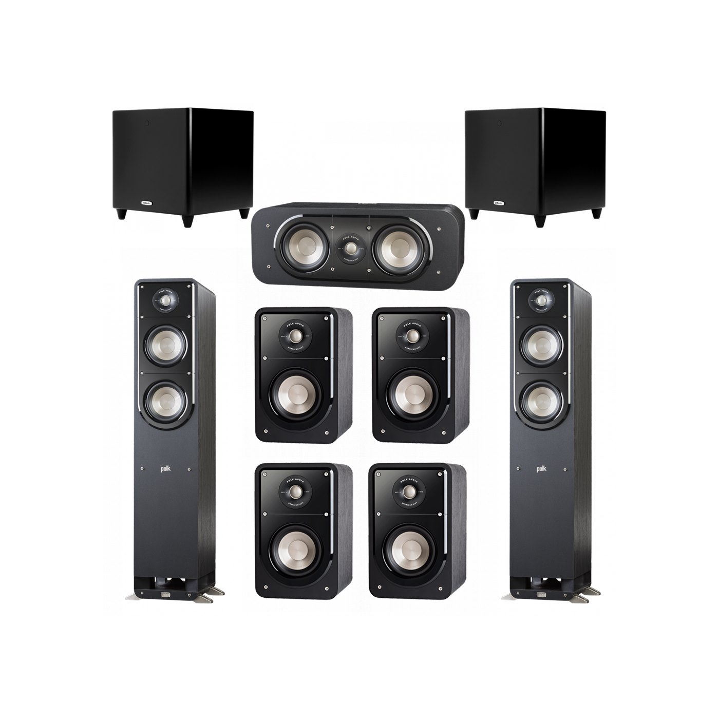 Polk Audio Signature 7.2 System with 2 S50 Tower Speaker, 1 Polk S30 Center Speaker, 4 Polk S15 Bookshelf Speaker, 2 Polk DSW PRO 550 wi Subwoofer