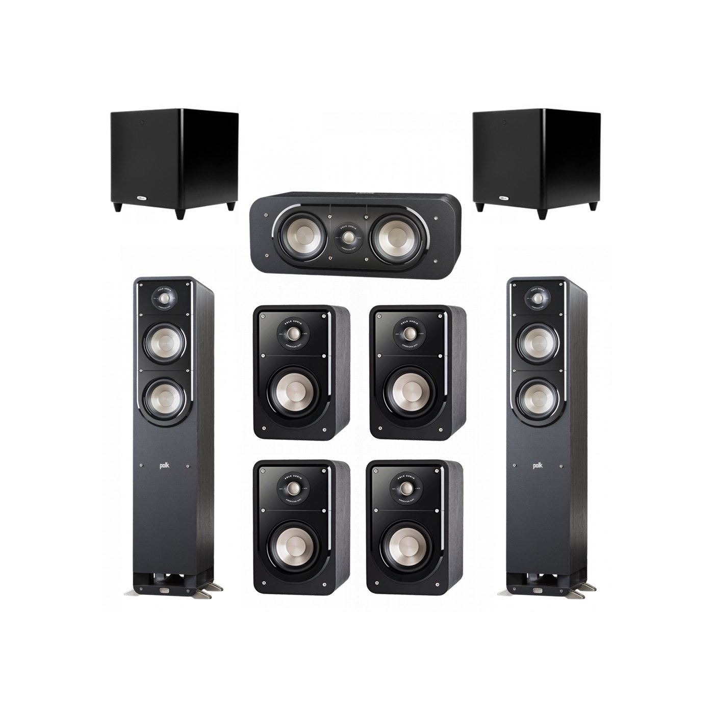 Polk Audio Signature 7.2 System with 2 S50 Tower Speaker, 1 Polk S30 Center Speaker, 4 Polk S15 Bookshelf Speaker, 2 Polk DSW PRO 660 wi Subwoofer