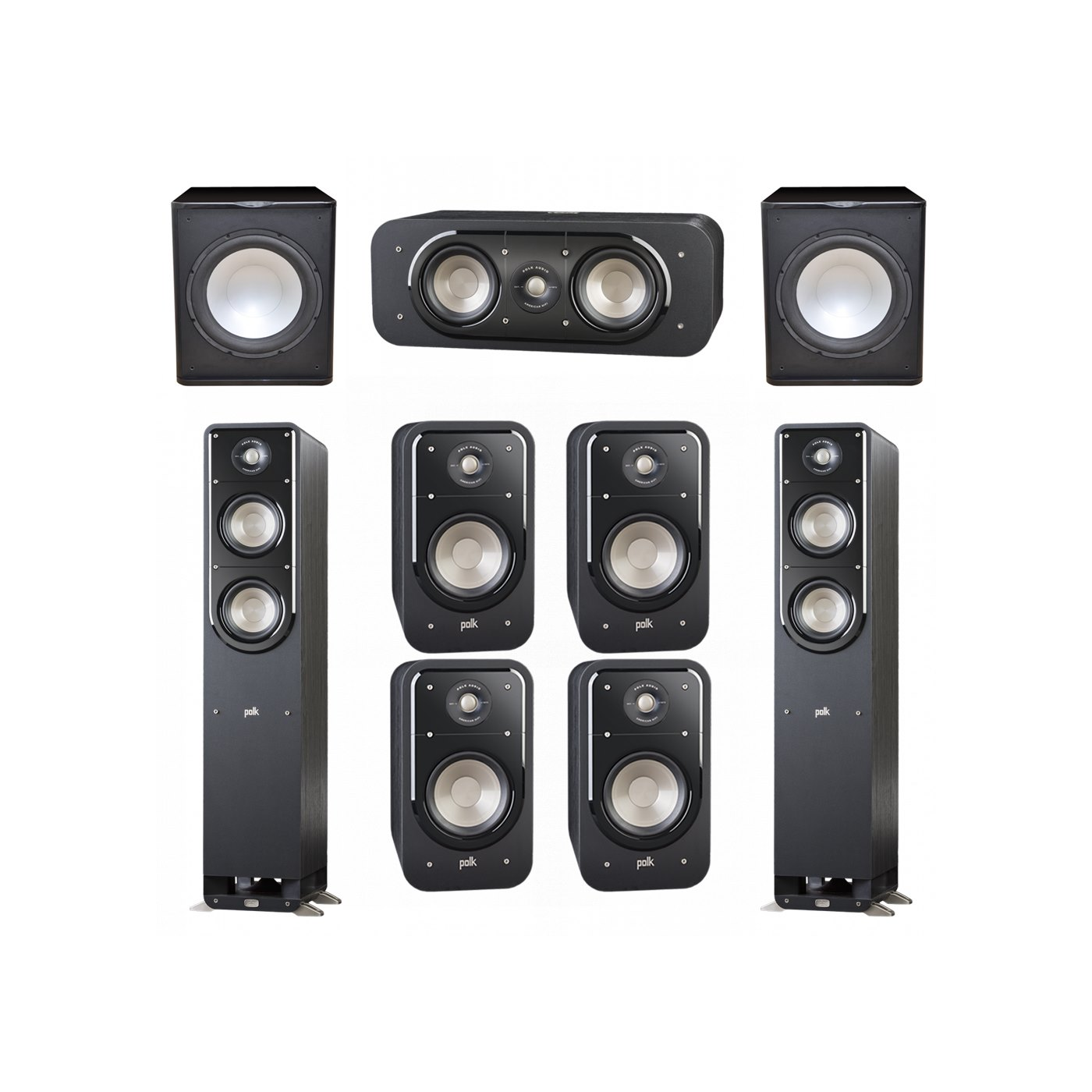 Polk Audio Signature 7.2 System with 2 S50 Tower Speaker, 1 Polk S30 Center Speaker, 4 Polk S20 Bookshelf Speaker, 2 Premier Acoustic PA-150 Powered Subwoofer