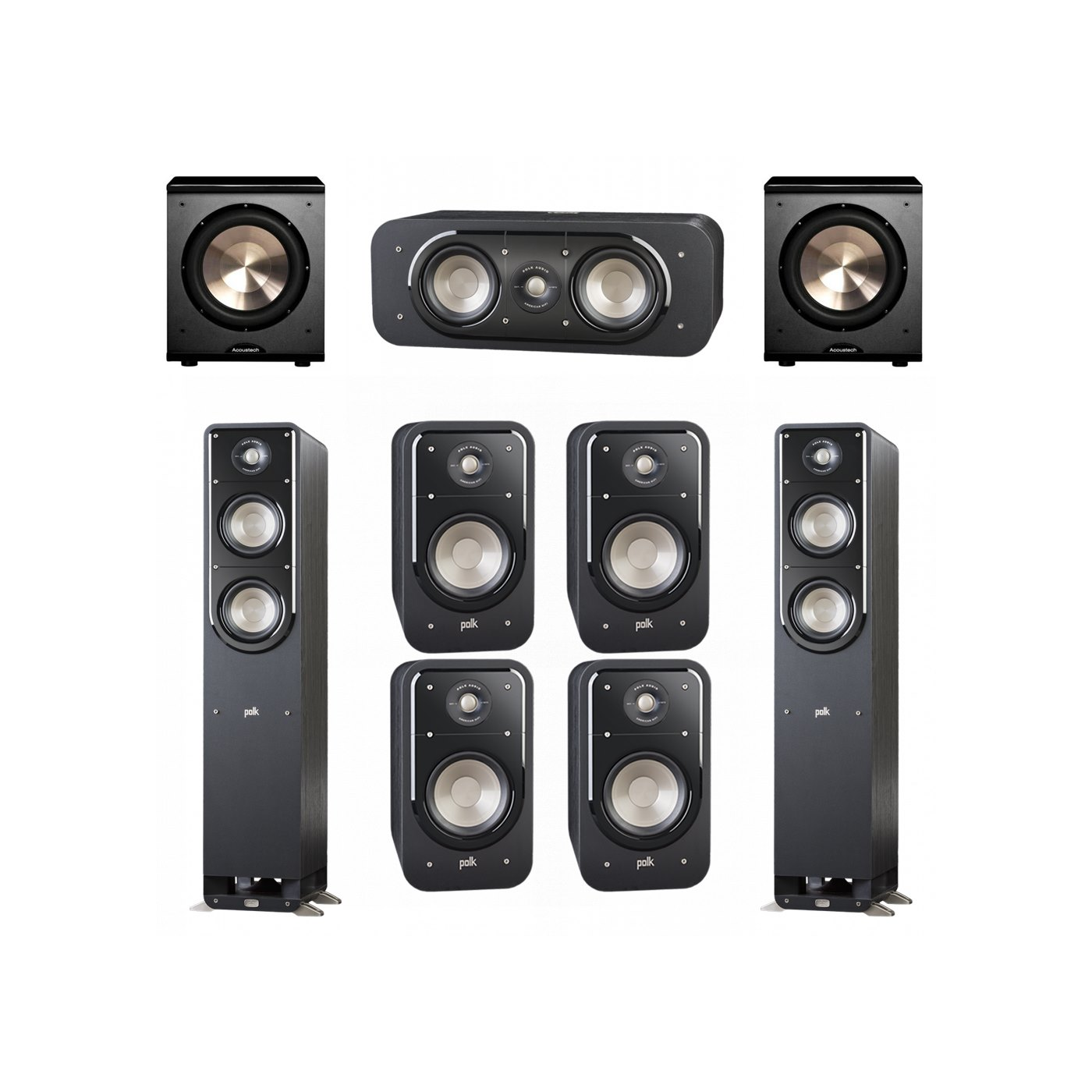 Polk Audio Signature 7.2 System with 2 S50 Tower Speaker, 1 Polk S30 Center Speaker, 4 Polk S20 Bookshelf Speaker, 2 BIC/Acoustech Platinum Series PL-200 Subwoofer
