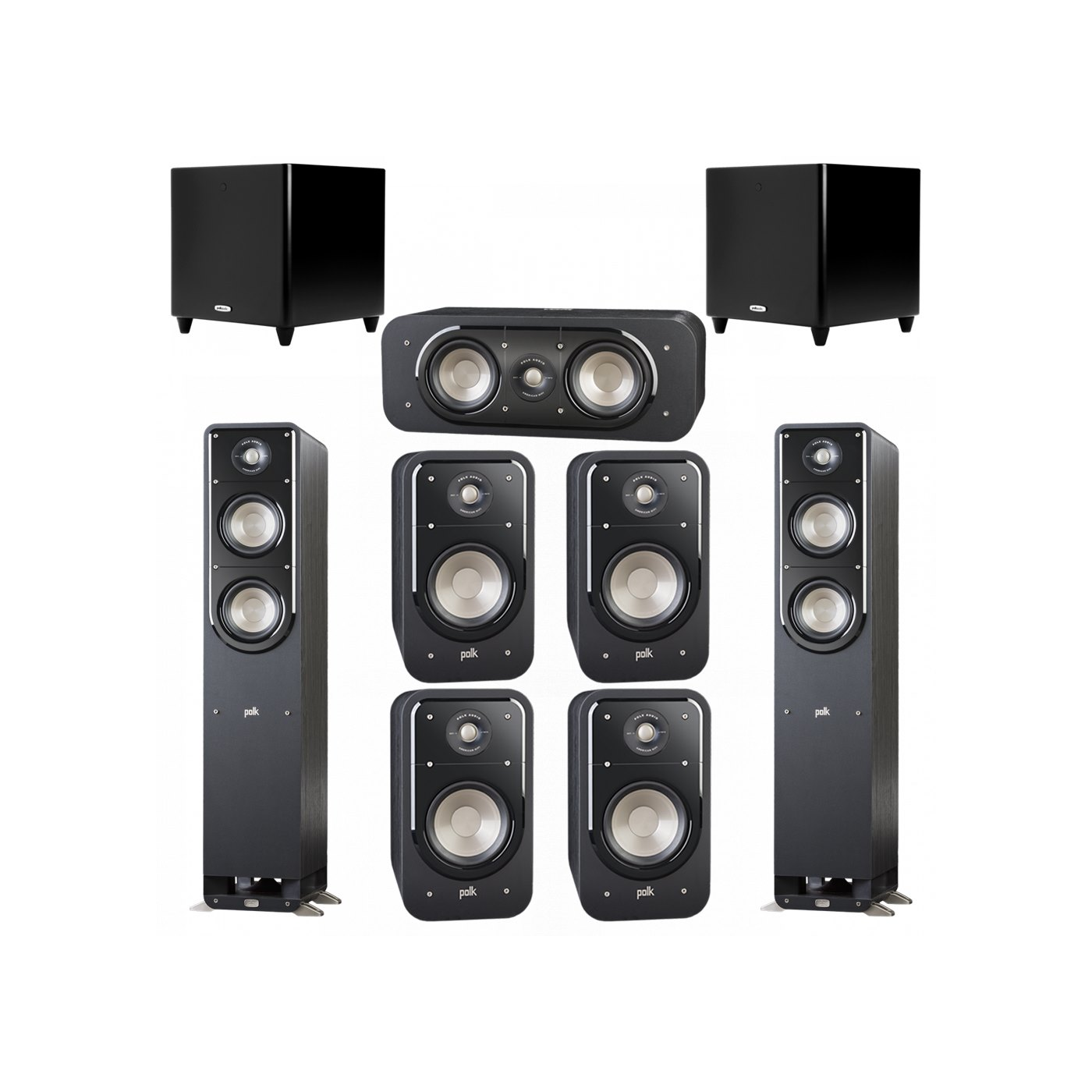 Polk Audio Signature 7.2 System with 2 S50 Tower Speaker, 1 Polk S30 Center Speaker, 4 Polk S20 Bookshelf Speaker, 2 Polk DSW PRO 550 wi Subwoofer