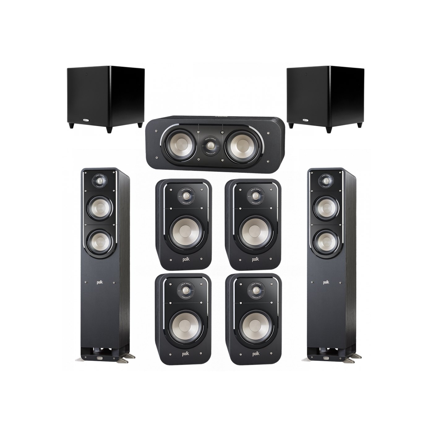 Polk Audio Signature 7.2 System with 2 S50 Tower Speaker, 1 Polk S30 Center Speaker, 4 Polk S20 Bookshelf Speaker, 2 Polk DSW PRO 660 wi Subwoofer
