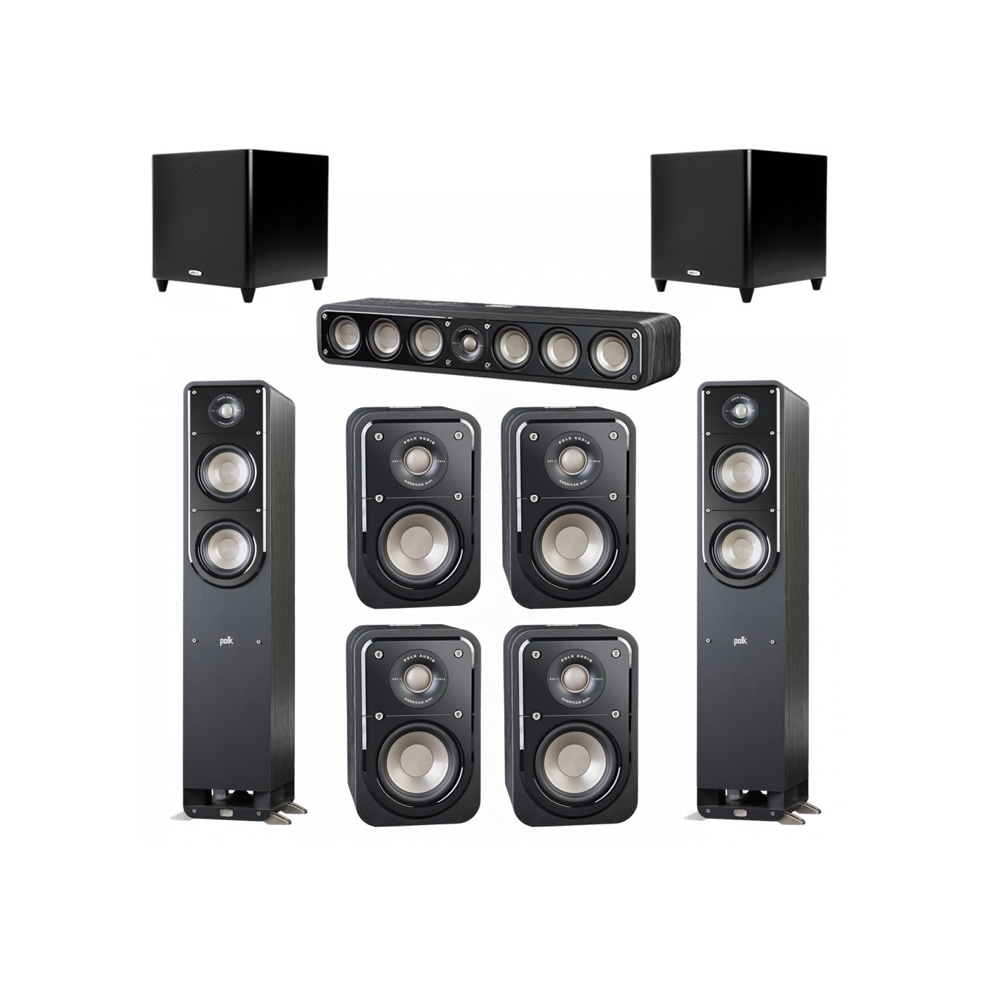 Polk Audio Signature 7.2 System with 2 S50 Tower Speaker, 1 Polk S35 Center Speaker, 4 Polk S10 Bookshelf Speaker, 2 Polk DSW PRO 660 wi Subwoofer