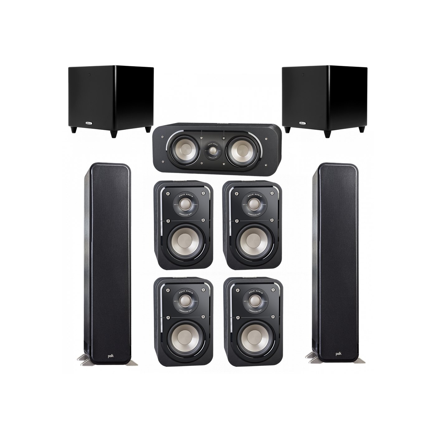 Polk Audio Signature 7.2 System with 2 S55 Tower Speaker, 1 Polk S30 Center Speaker, 4 Polk S10 Bookshelf Speaker, 2 Polk DSW PRO 550 wi Subwoofer