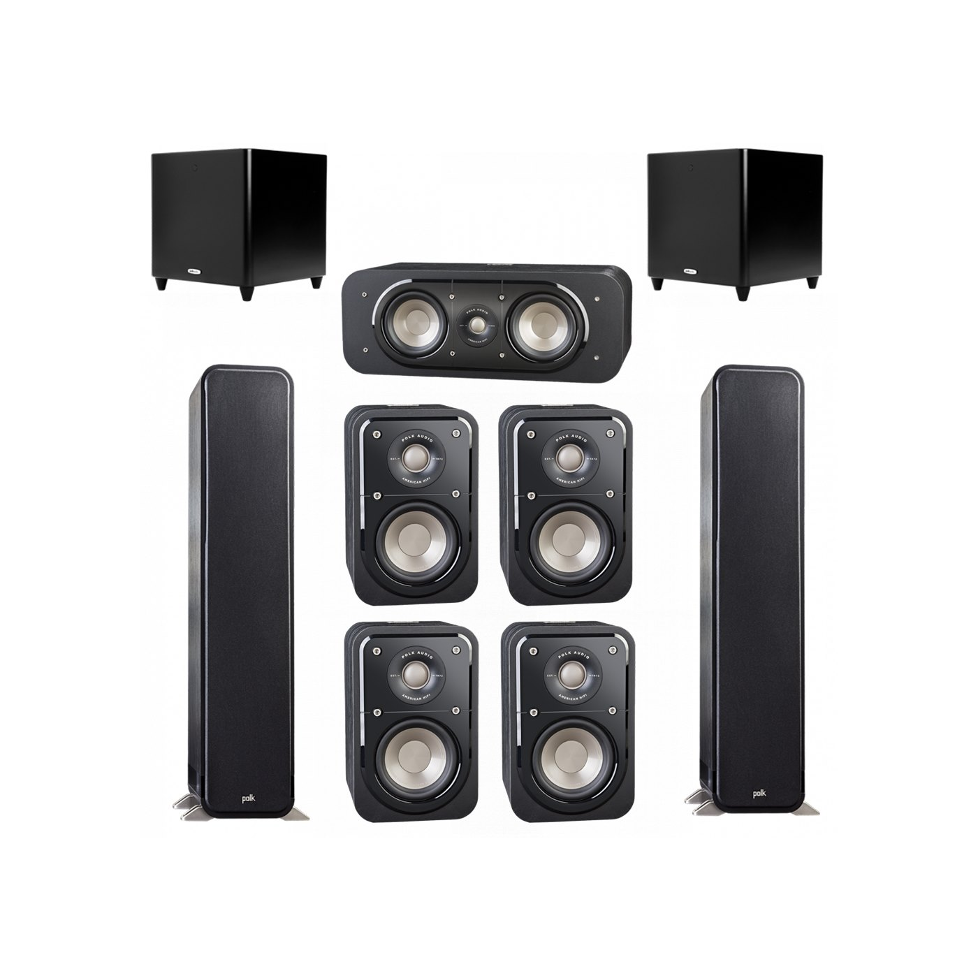 Polk Audio Signature 7.2 System with 2 S55 Tower Speaker, 1 Polk S30 Center Speaker, 4 Polk S10 Bookshelf Speaker, 2 Polk DSW PRO 660 wi Subwoofer