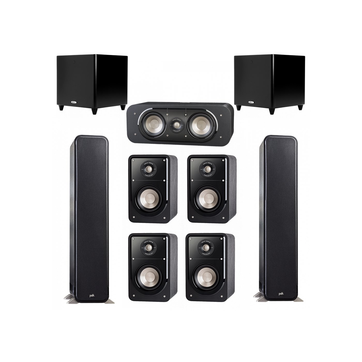 Polk Audio Signature 7.2 System with 2 S55 Tower Speaker, 1 Polk S30 Center Speaker, 4 Polk S15 Bookshelf Speaker, 2 Polk DSW PRO 550 wi Subwoofer