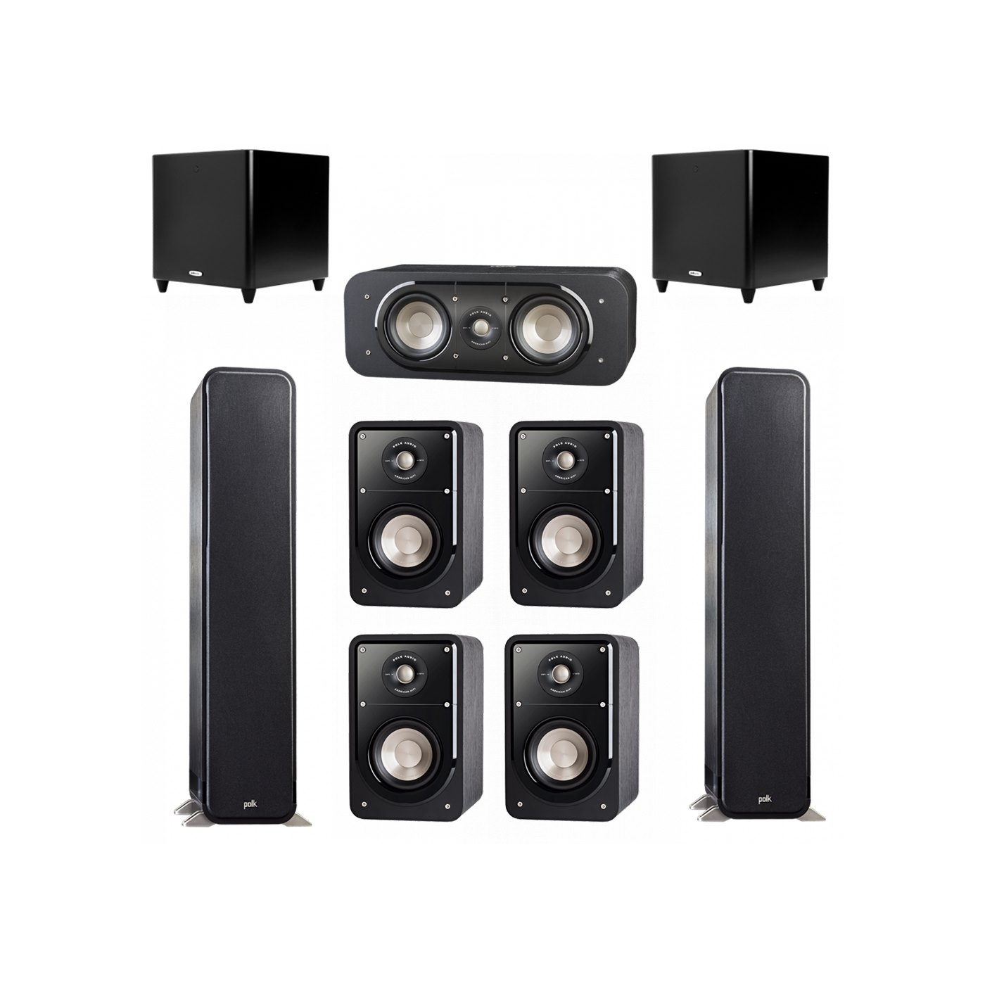 Polk Audio Signature 7.2 System with 2 S55 Tower Speaker, 1 Polk S30 Center Speaker, 4 Polk S15 Bookshelf Speaker, 2 Polk DSW PRO 660 wi Subwoofer