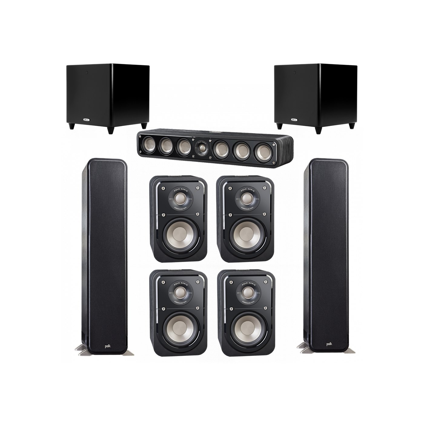 Polk Audio Signature 7.2 System with 2 S55 Tower Speaker, 1 Polk S35 Center Speaker, 4 Polk S10 Bookshelf Speaker, 2 Polk DSW PRO 550 wi Subwoofer