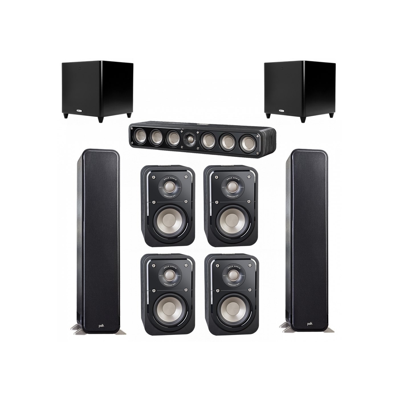 Polk Audio Signature 7.2 System with 2 S55 Tower Speaker, 1 Polk S35 Center Speaker, 4 Polk S10 Bookshelf Speaker, 2 Polk DSW PRO 660 wi Subwoofer
