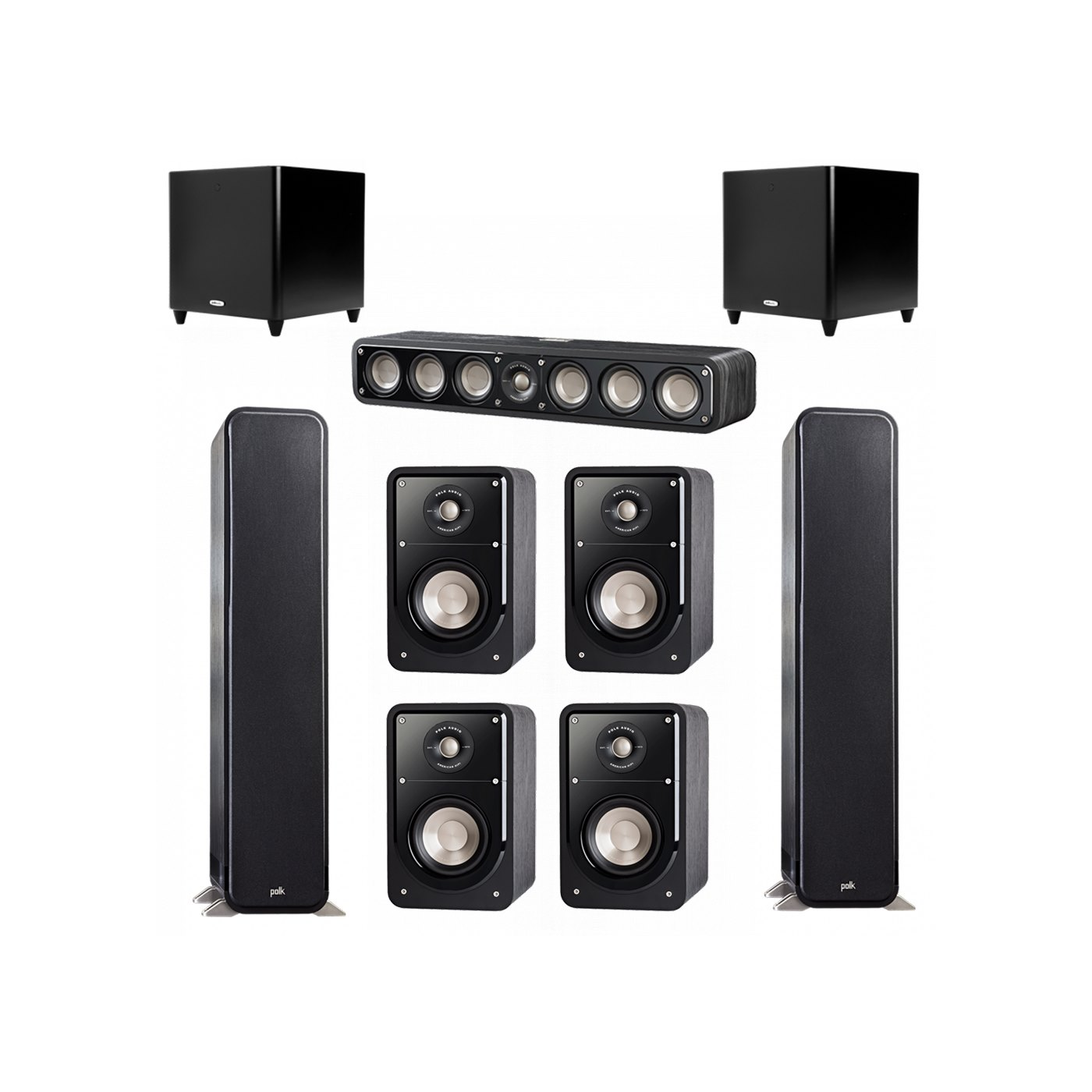 Polk Audio Signature 7.2 System with 2 S55 Tower Speaker, 1 Polk S35 Center Speaker, 4 Polk S15 Bookshelf Speaker, 2 Polk DSW PRO 660 wi Subwoofer
