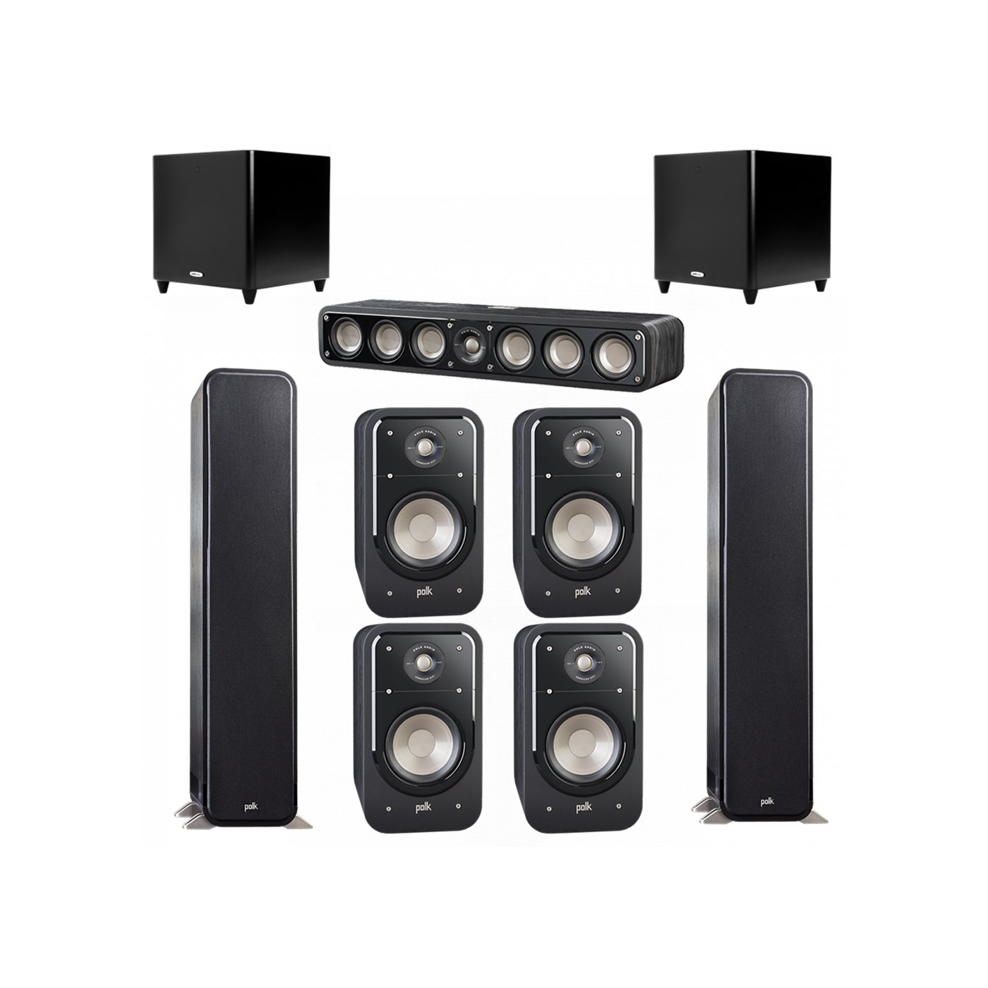 Polk Audio Signature 7.2 System with 2 S55 Tower Speaker, 1 Polk S35 Center Speaker, 4 Polk S20 Bookshelf Speaker, 2 Polk DSW PRO 660 wi Subwoofer