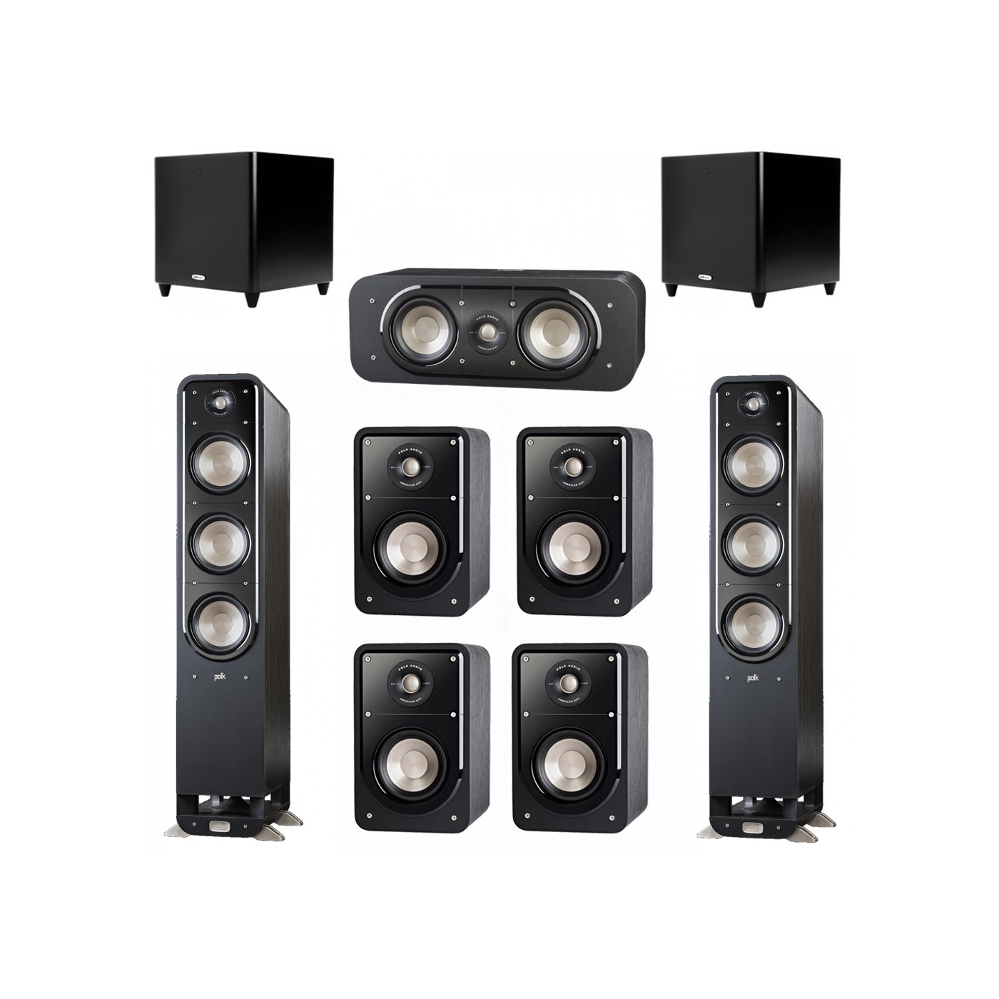 Polk Audio Signature 7.2 System with 2 S60 Tower Speaker, 1 Polk S30 Center Speaker, 4 Polk S15 Bookshelf Speaker, 2 Polk DSW PRO 660 wi Subwoofer