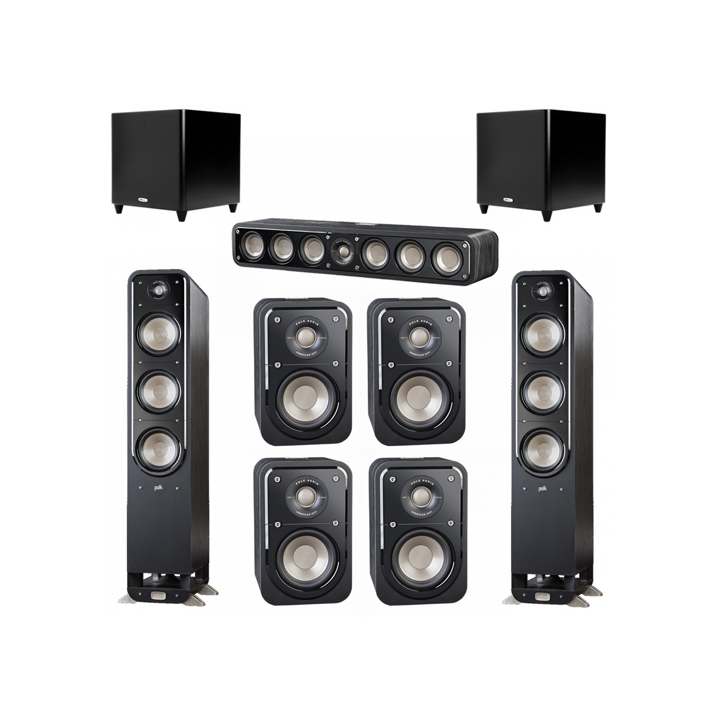 Polk Audio Signature 7.2 System with 2 S60 Tower Speaker, 1 Polk S35 Center Speaker, 4 Polk S10 Bookshelf Speaker, 2 Polk DSW PRO 660 wi Subwoofer