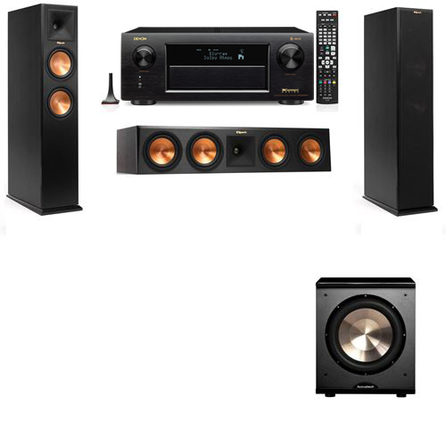Klipsch RP-250F Tower Speakers-PL-200-3.1-Denon AVR-X6300H