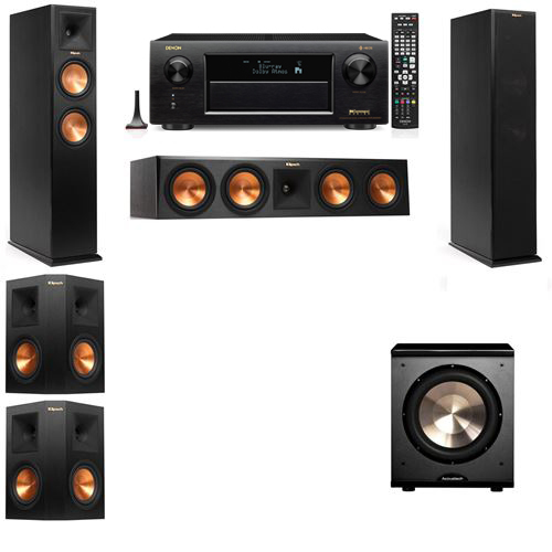 Klipsch RP-250F Tower Speakers-PL-200-5.1-Denon AVR-X6300H