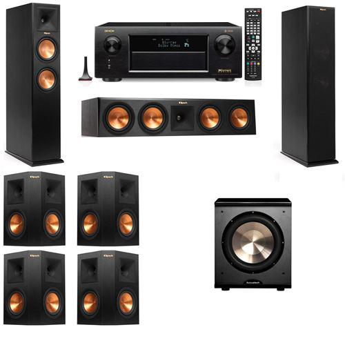 Klipsch RP-250F Tower Speakers-PL-200-7.1-Denon AVR-X6300H