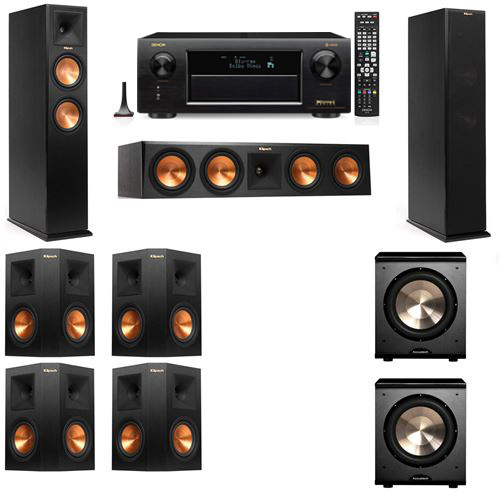Klipsch RP-250F Tower Speakers-PL-200-7.2-Denon AVR-X6300H
