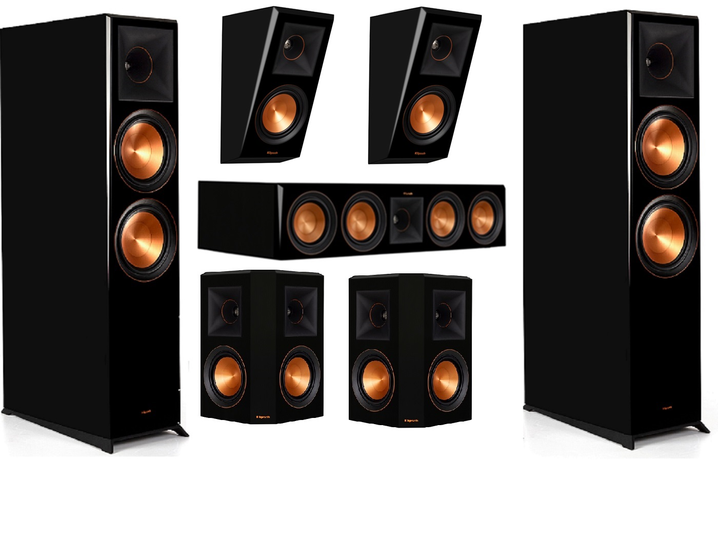 Klipsch RP-8060FA 5.0.1 Home Theater System- Piano Black Bundle