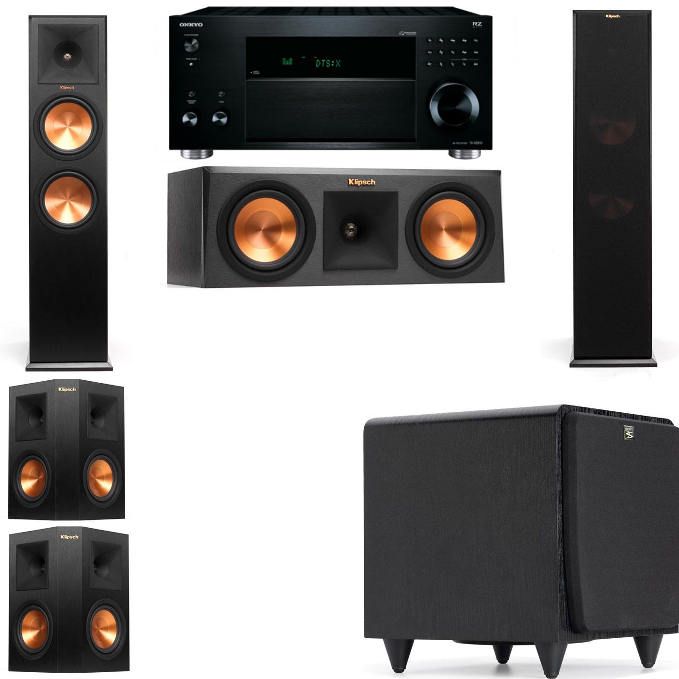 Klipsch RP-280F Tower Speakers-RP-250C-SDS12 -5.1-Onkyo TX-RZ810