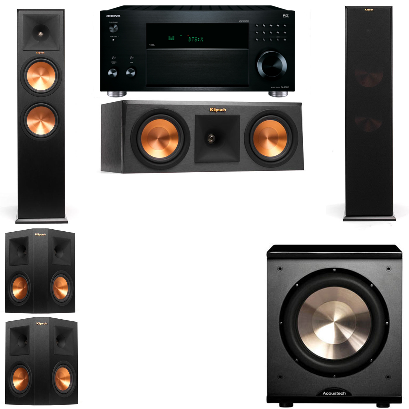 Klipsch RP-280F Tower Speakers-RP-250C-PL-200-5.1-Onkyo TX-RZ810