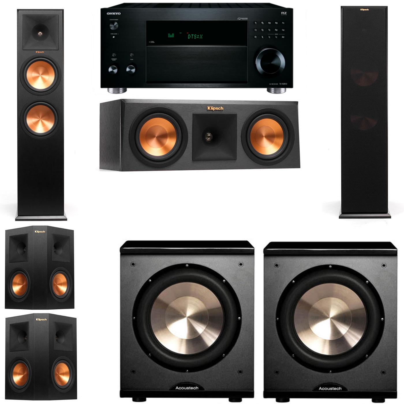 Klipsch RP-280F Tower Speakers-RP-250C-PL-200-5.2-Onkyo TX-RZ810