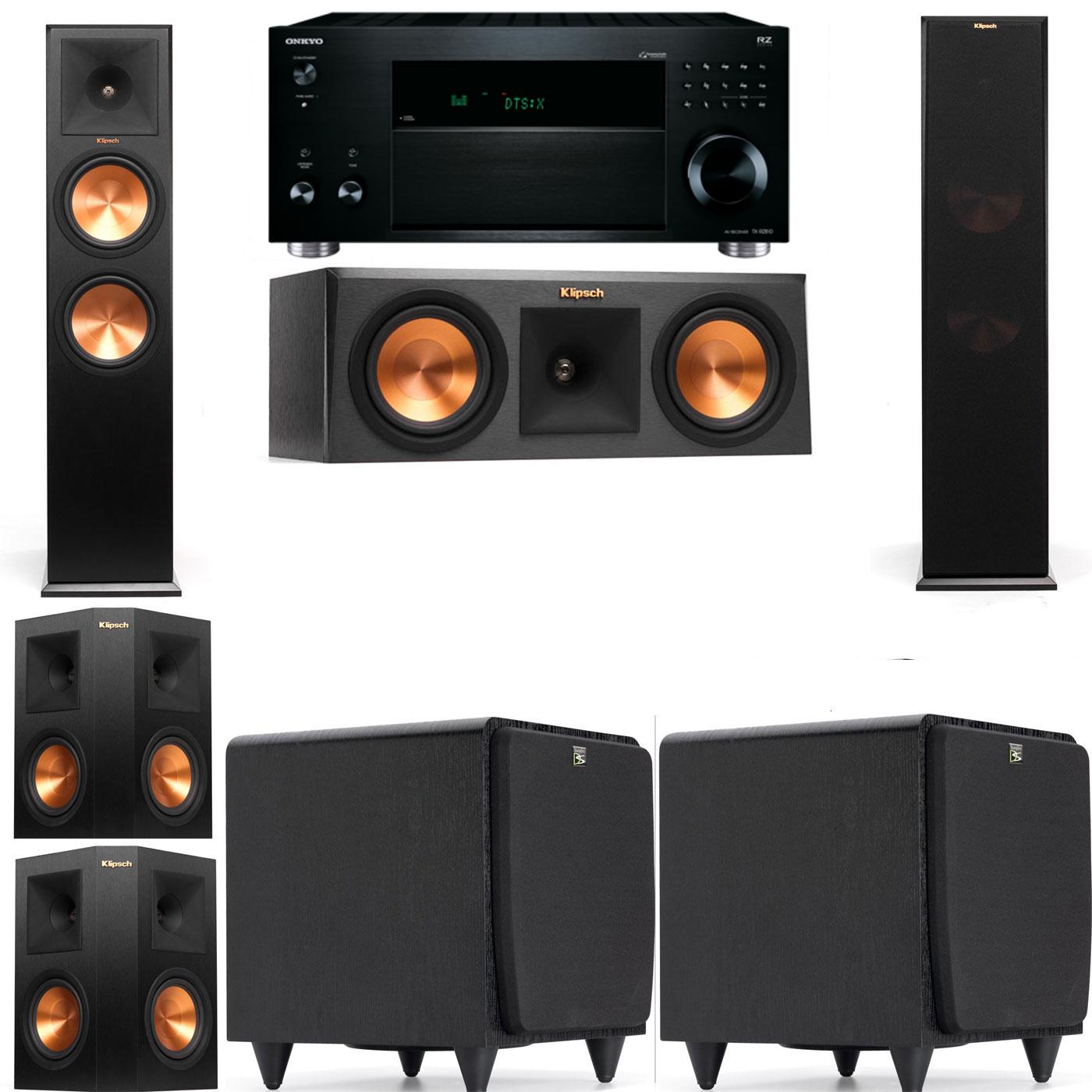 Klipsch RP-280F Tower Speakers-RP-250C-SDS12 -5.2-Onkyo TX-RZ810