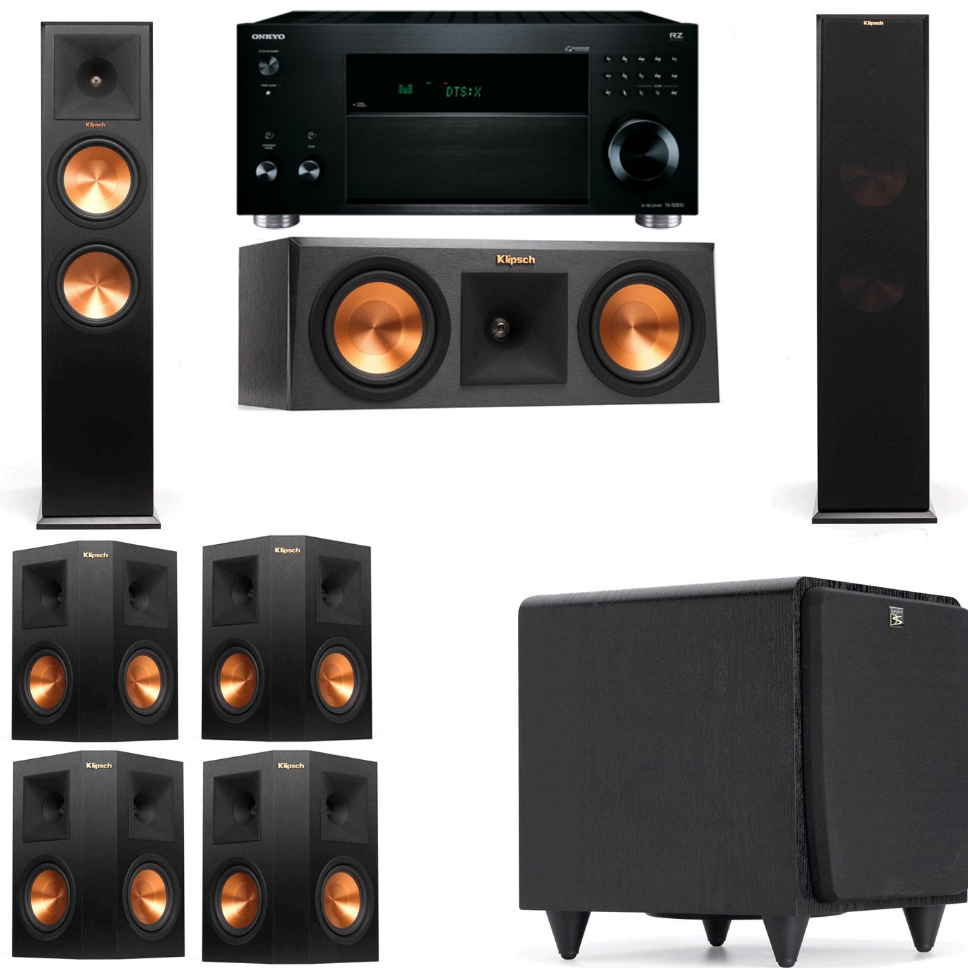 Klipsch RP-280F Tower Speakers-RP-250C-SDS12 -7.1-Onkyo TX-RZ810