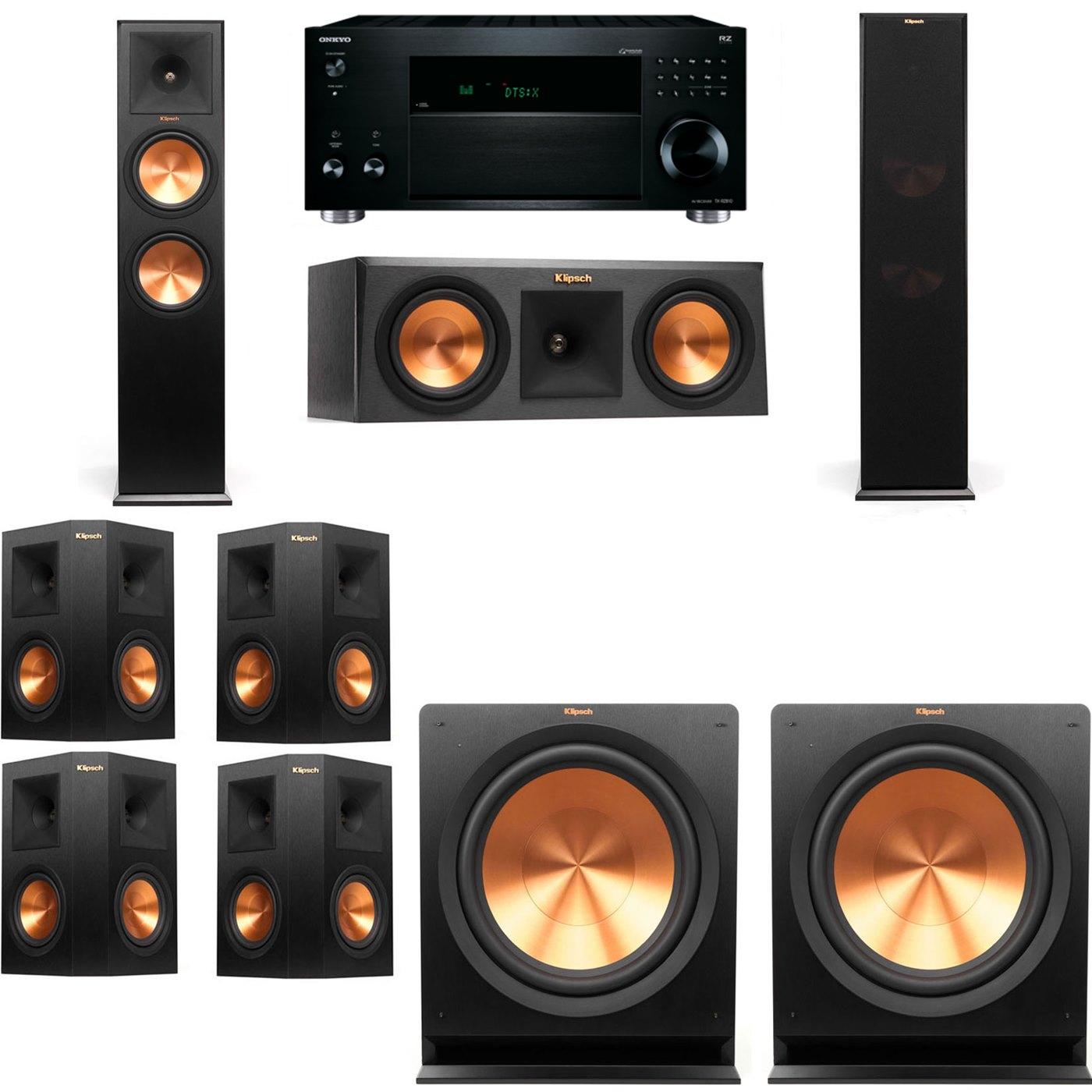 Klipsch RP-280F Tower Speakers-RP-250C-R112SW-7.2-Onkyo TX-RZ810