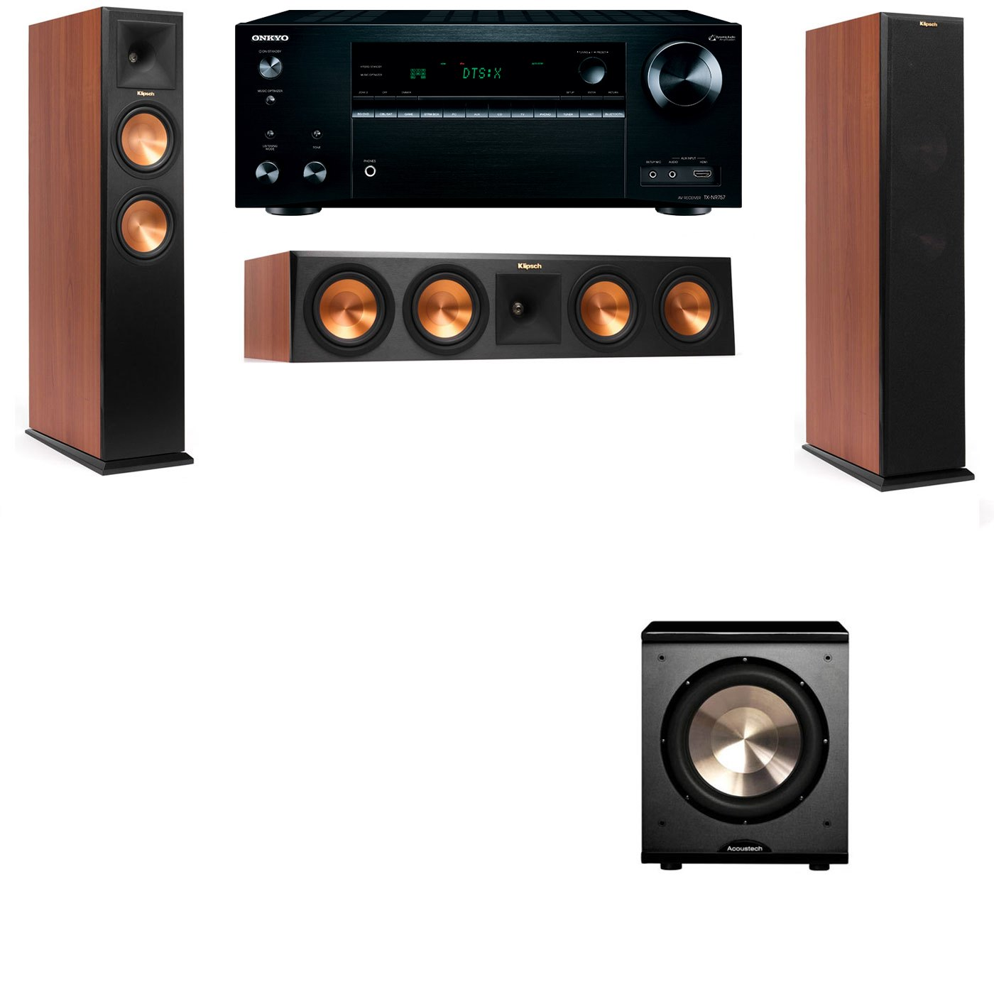 Klipsch RP-250F Tower Speakers CH-PL-200-3.1-Onkyo TX-NR757