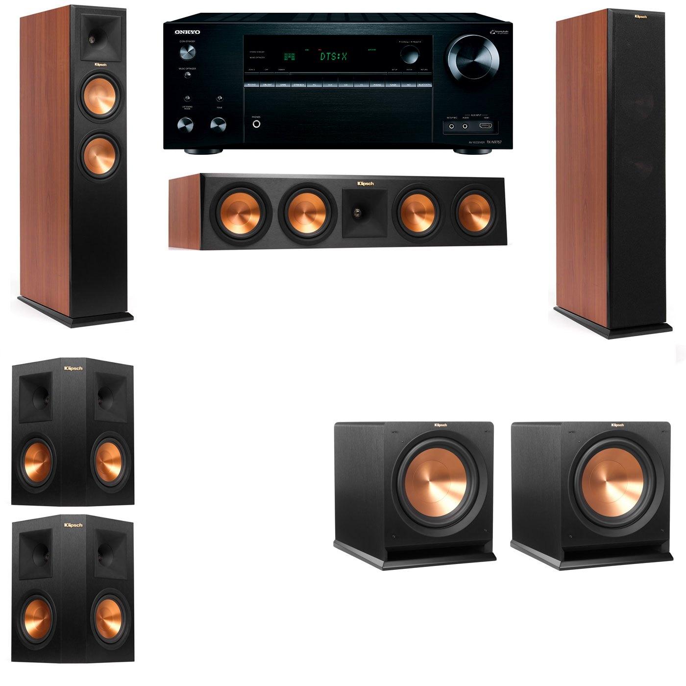 Klipsch RP-250F Tower Speakers CH-R112SW-5.2-Onkyo TX-NR757