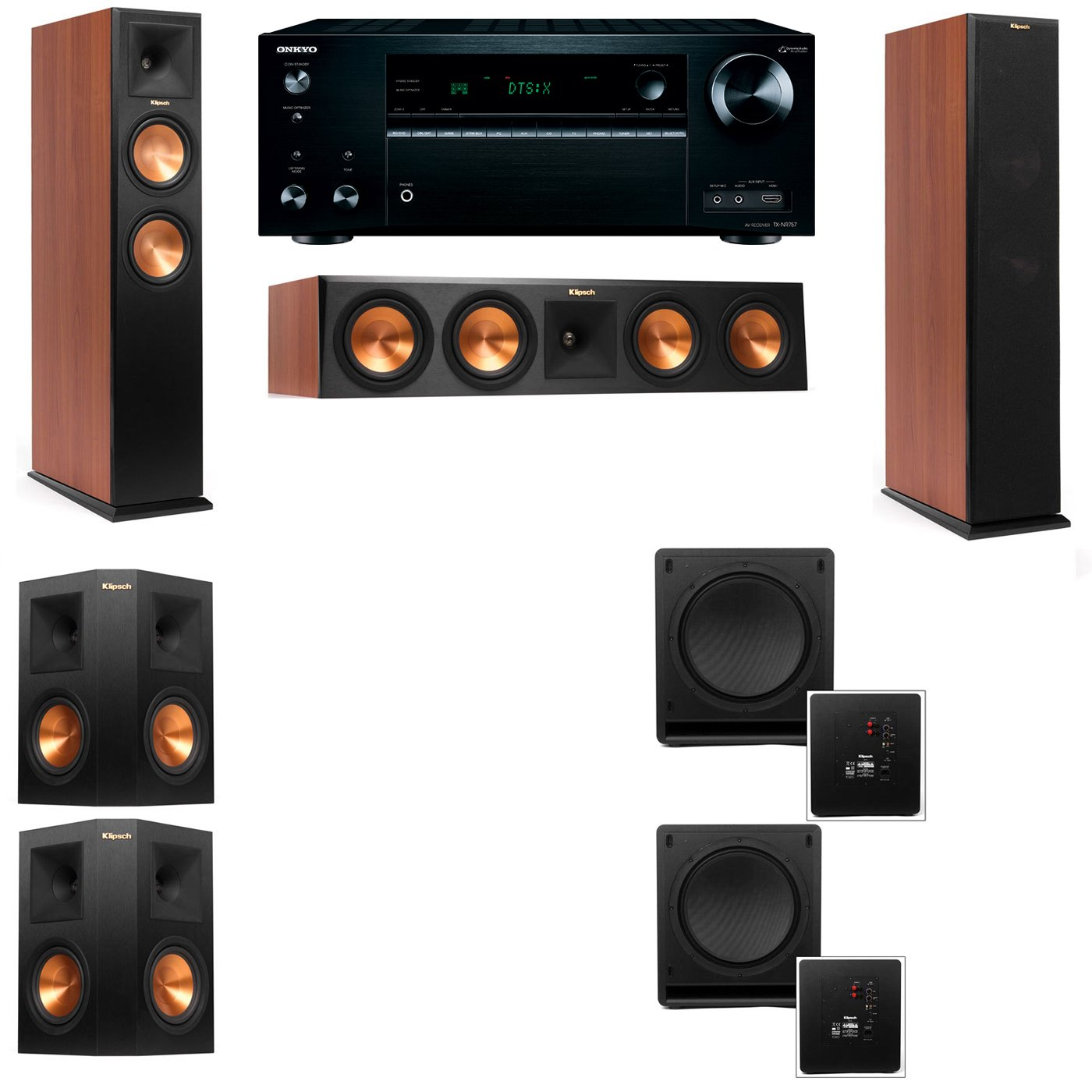 Klipsch RP-250F Tower Speakers CH-SW-112-5.2-Onkyo TX-NR757