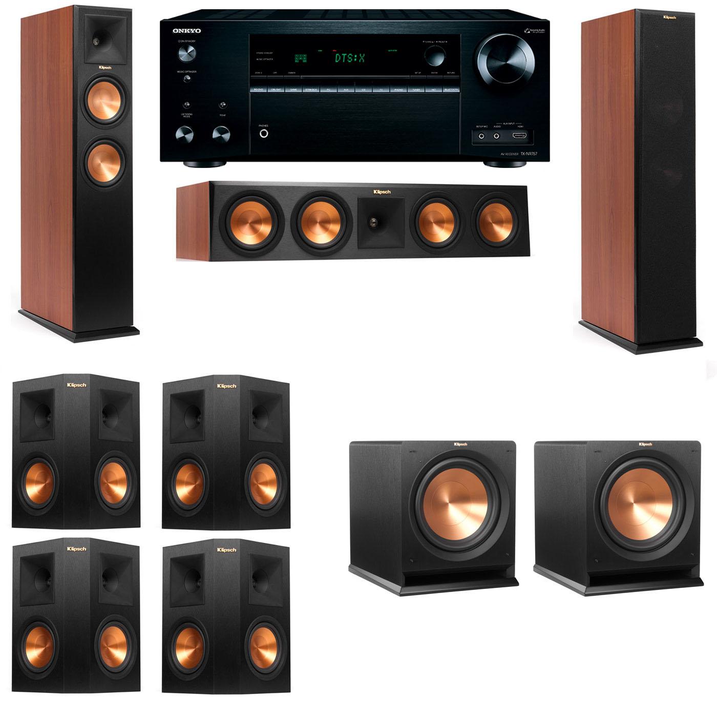 Klipsch RP-250F Tower Speakers CH-R112SW-7.2-Onkyo TX-NR757