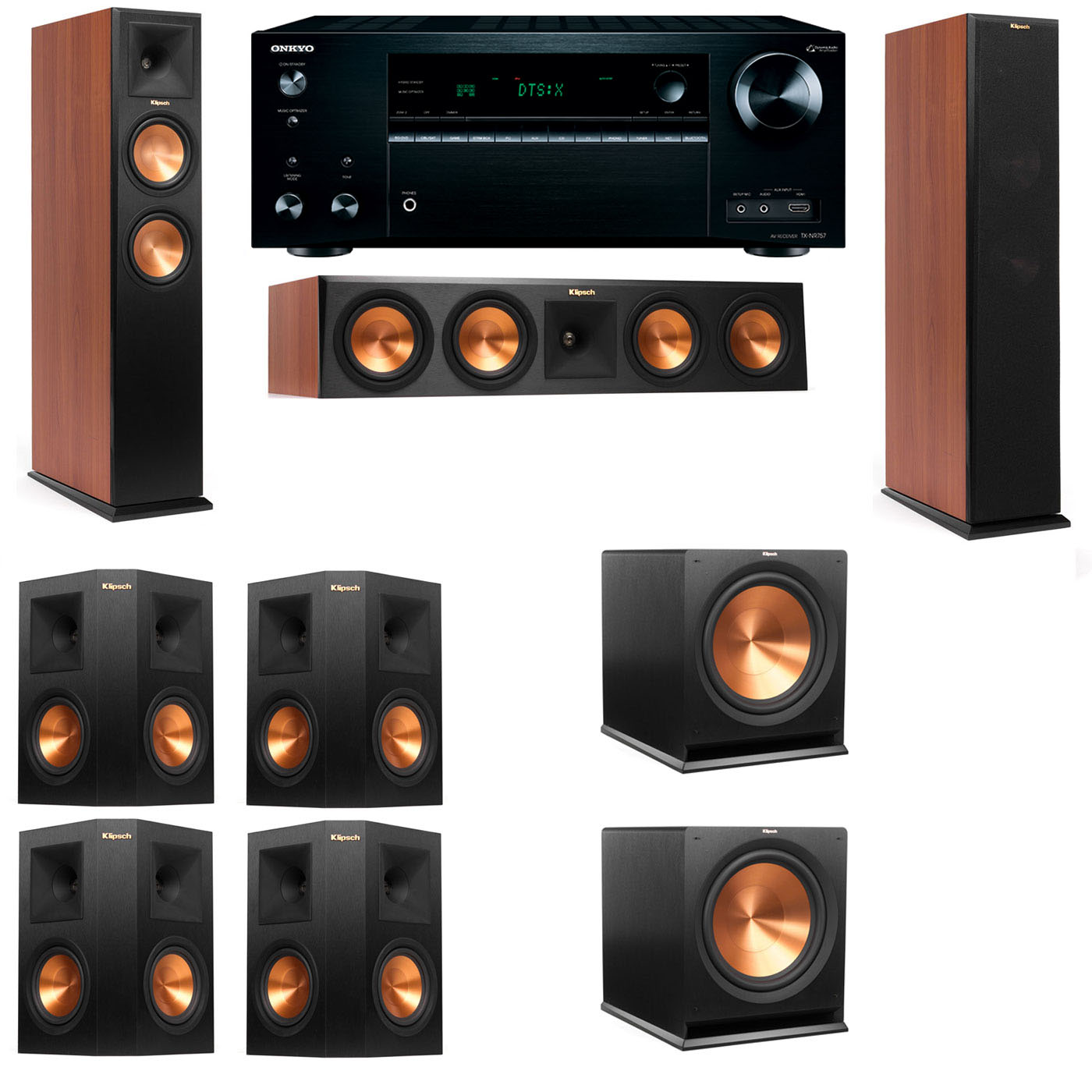 Klipsch RP-250F Tower Speakers CH-7.2-Onkyo TX-NR757