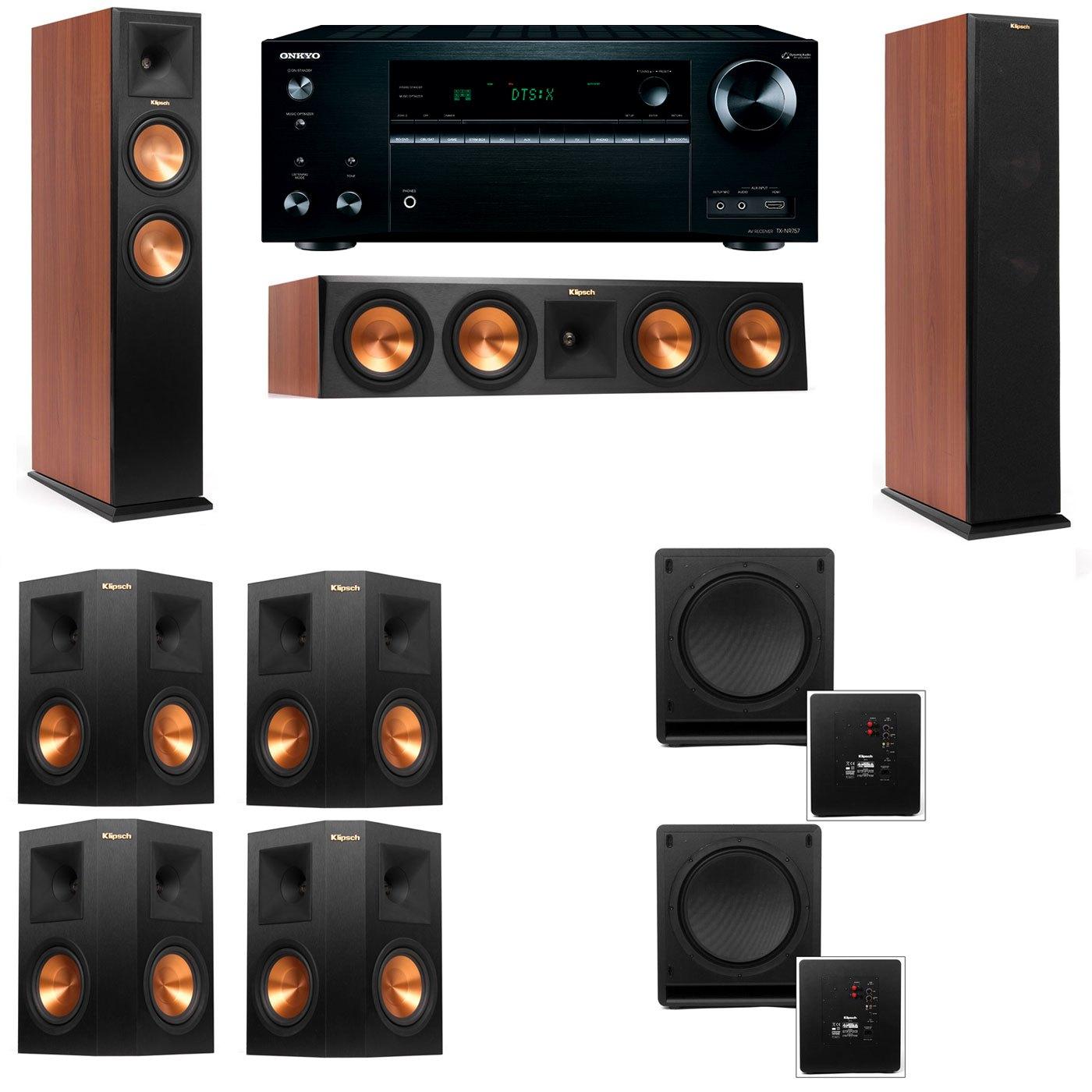 Klipsch RP-250F Tower Speakers CH-SW-112-7.2-Onkyo TX-NR757