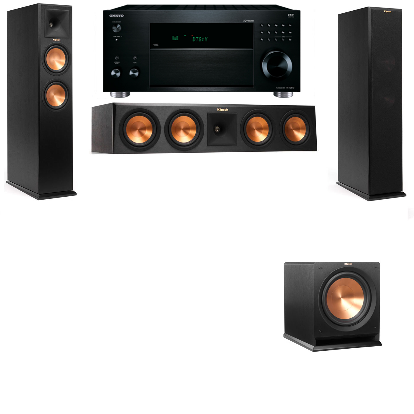 Klipsch RP-260F Tower Speakers-R112SW-3.1-Onkyo TX-RZ810