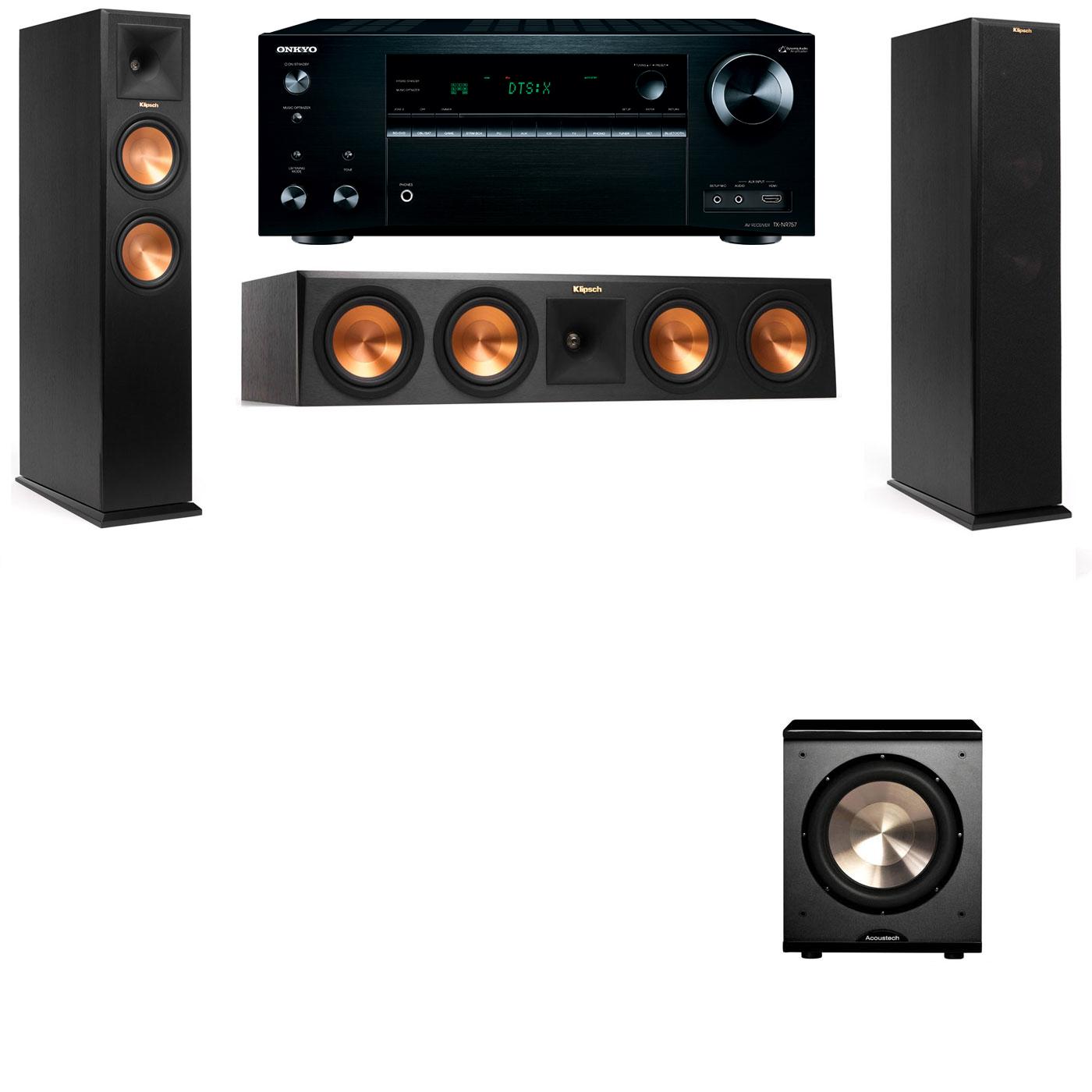 Klipsch RP-250F Tower Speakers-PL-200-3.1-Onkyo TX-NR757