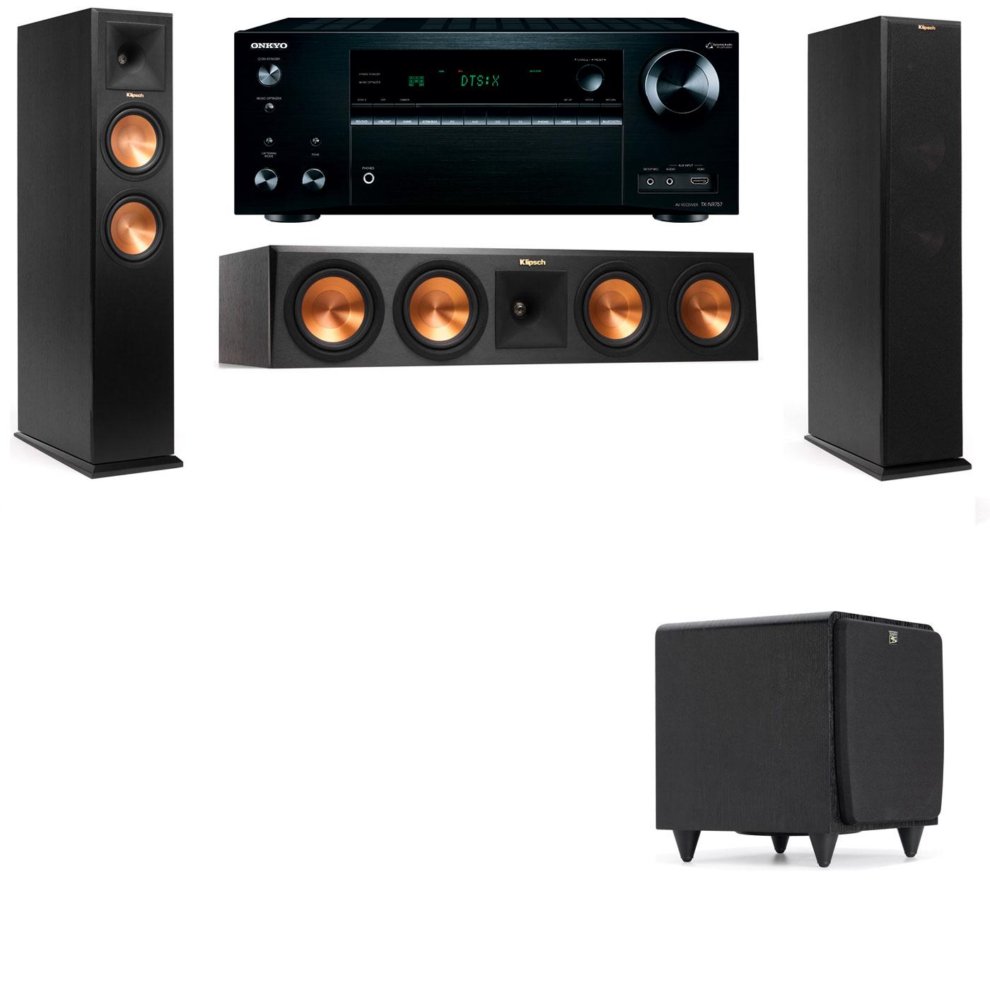 Klipsch RP-250F Tower Speakers-SDS12-3.1-Onkyo TX-NR757