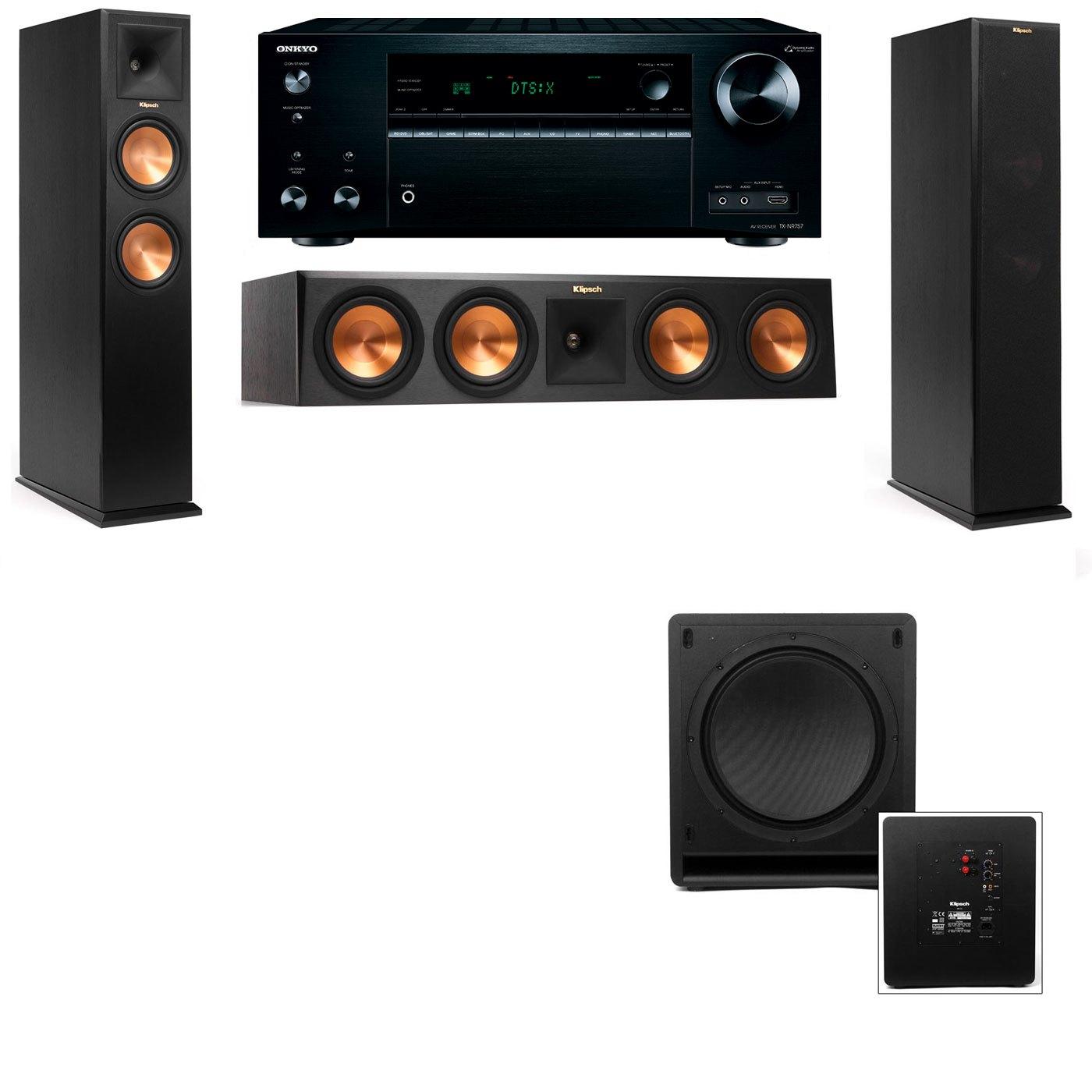 Klipsch RP-250F Tower Speakers-SW-112-3.1-Onkyo TX-NR757