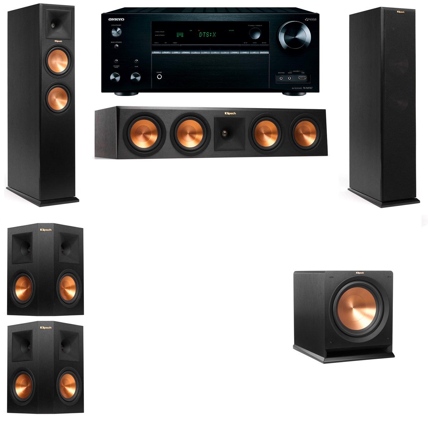 Klipsch RP-250F Tower Speakers-R112SW-5.1-Onkyo TX-NR757