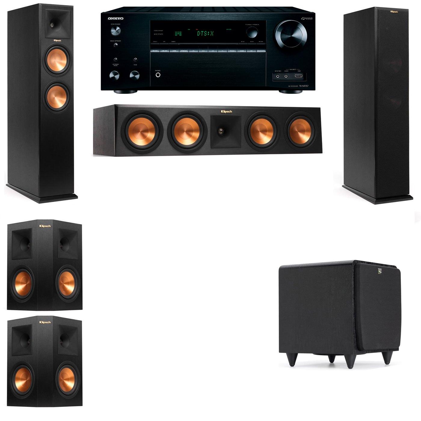 Klipsch RP-250F Tower Speakers-SDS12-5.1-Onkyo TX-NR757