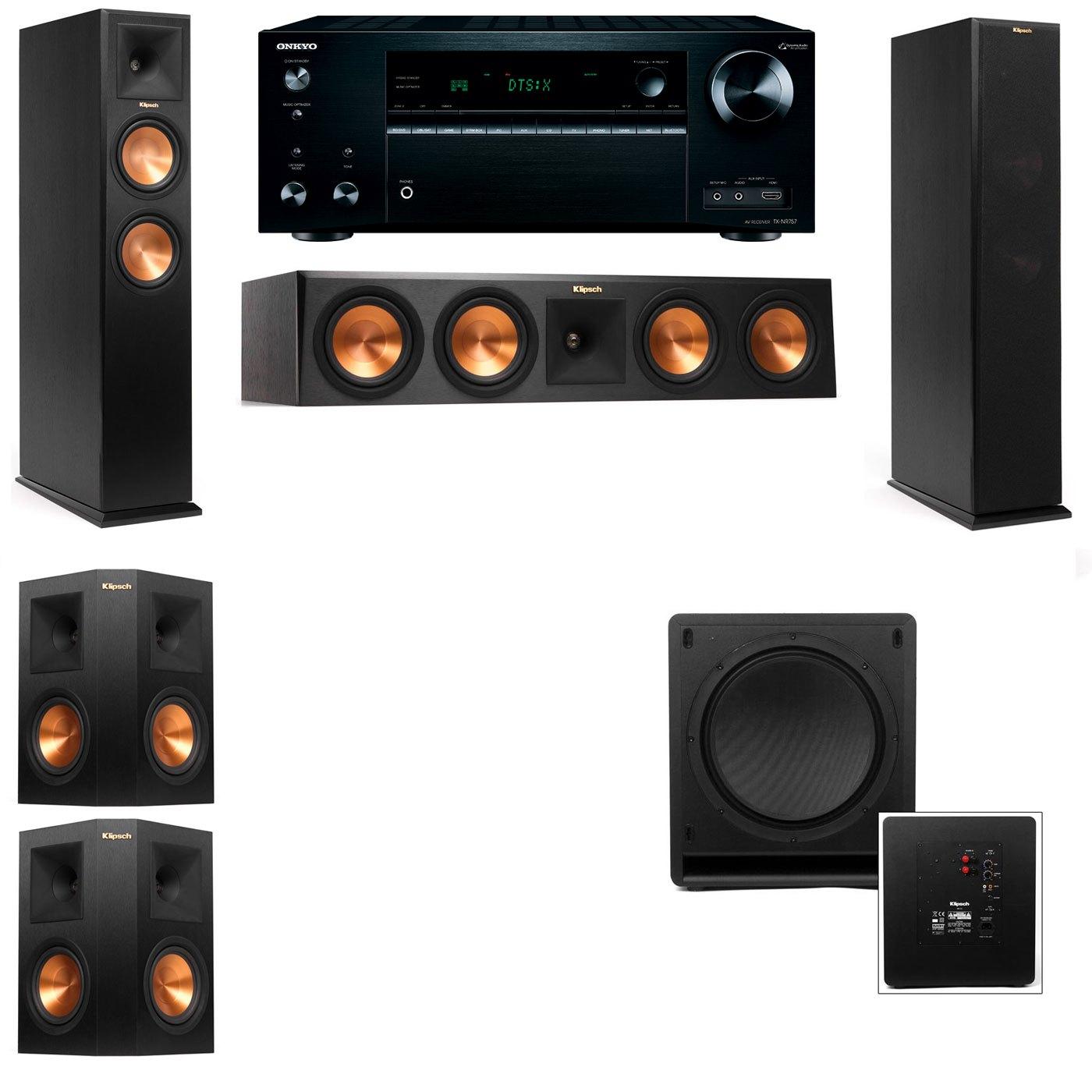 Klipsch RP-250F Tower Speakers-SW-112-5.1-Onkyo TX-NR757