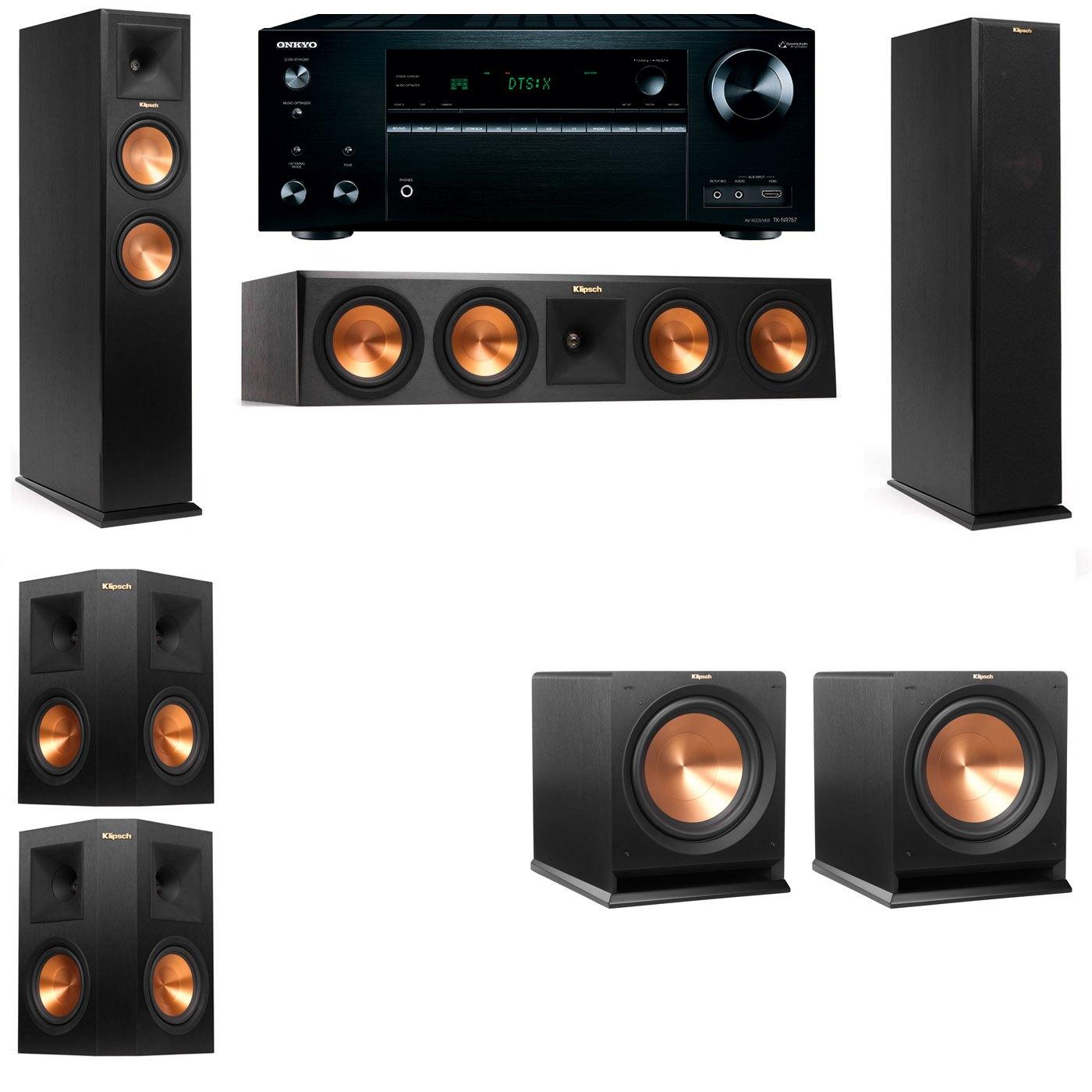 Klipsch RP-250F Tower Speakers-R112SW-5.2-Onkyo TX-NR757