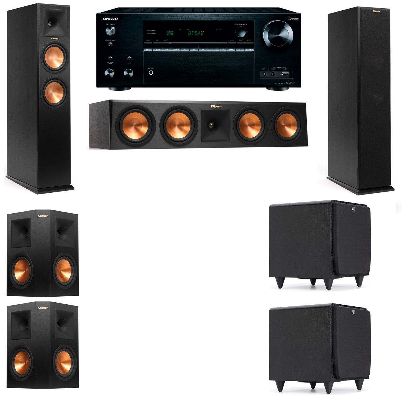 Klipsch RP-250F Tower Speakers-SDS12-5.2-Onkyo TX-NR757