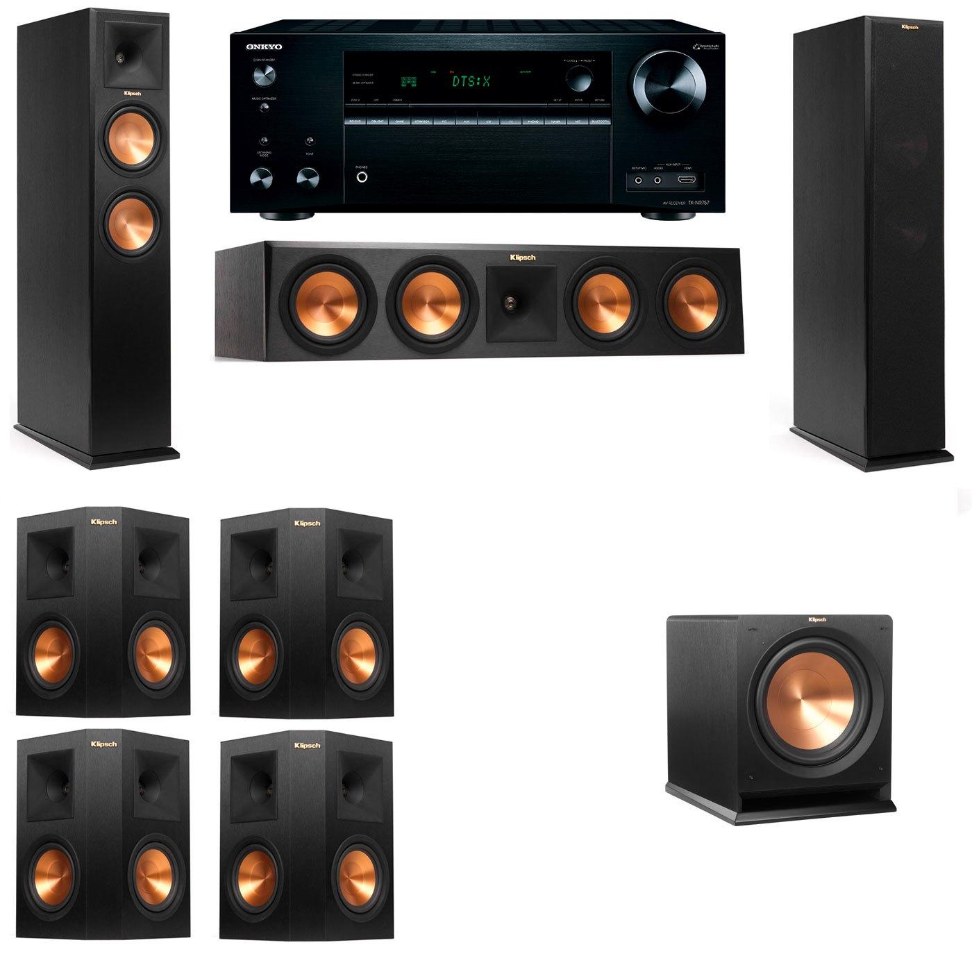 Klipsch RP-250F Tower Speakers-R112SW-7.1-Onkyo TX-NR757