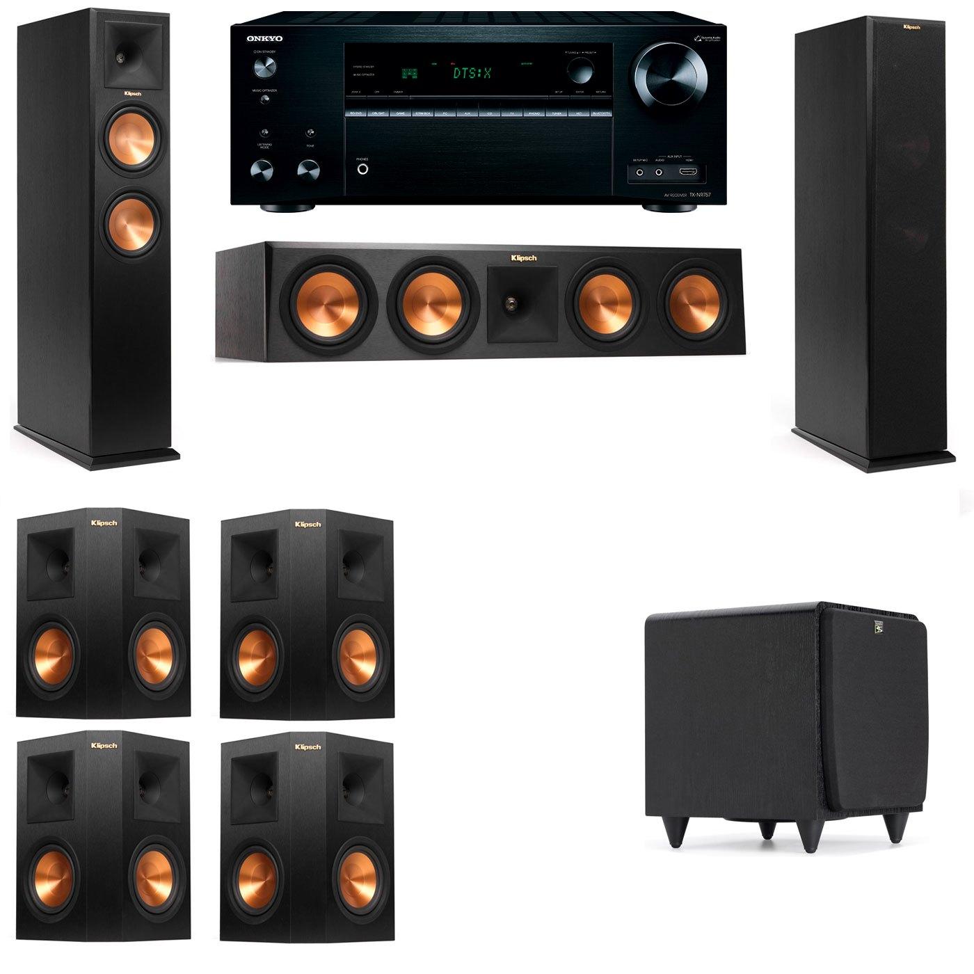 Klipsch RP-250F Tower Speakers-SDS12-7.1-Onkyo TX-NR757
