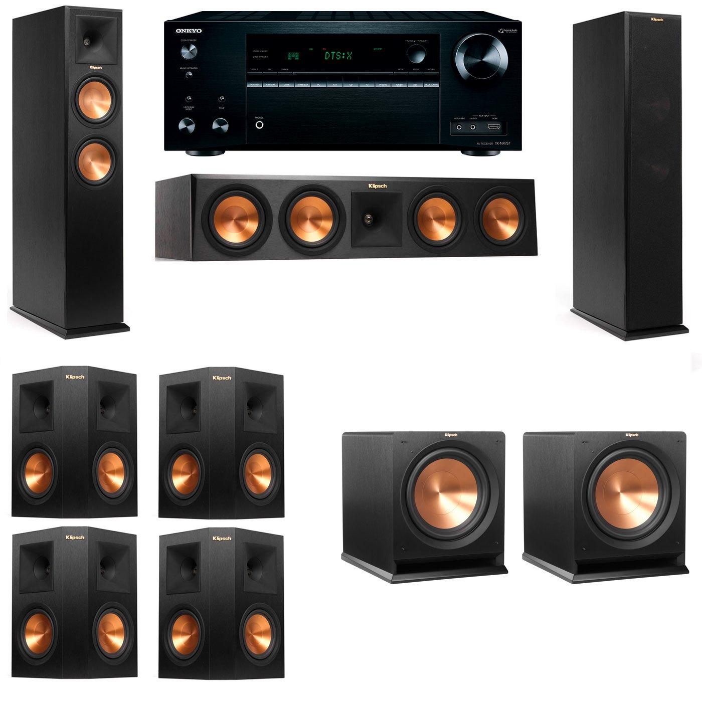 Klipsch RP-250F Tower Speakers-R112SW-7.2-Onkyo TX-NR757