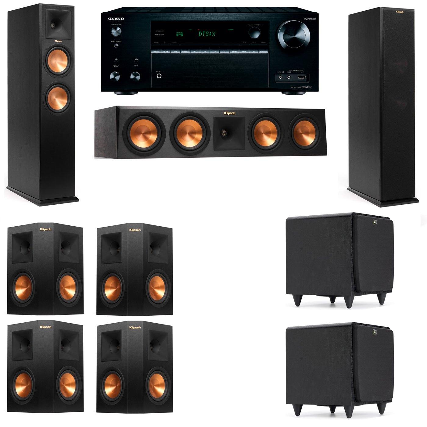 Klipsch RP-250F Tower Speakers-SDS12-7.2-Onkyo TX-NR757