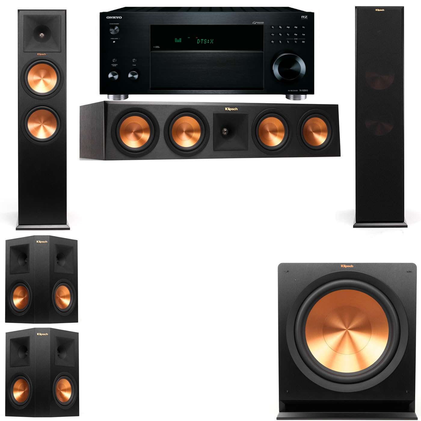 Klipsch RP-280F Tower Speakers-R112SW-5.1-Onkyo TX-RZ810